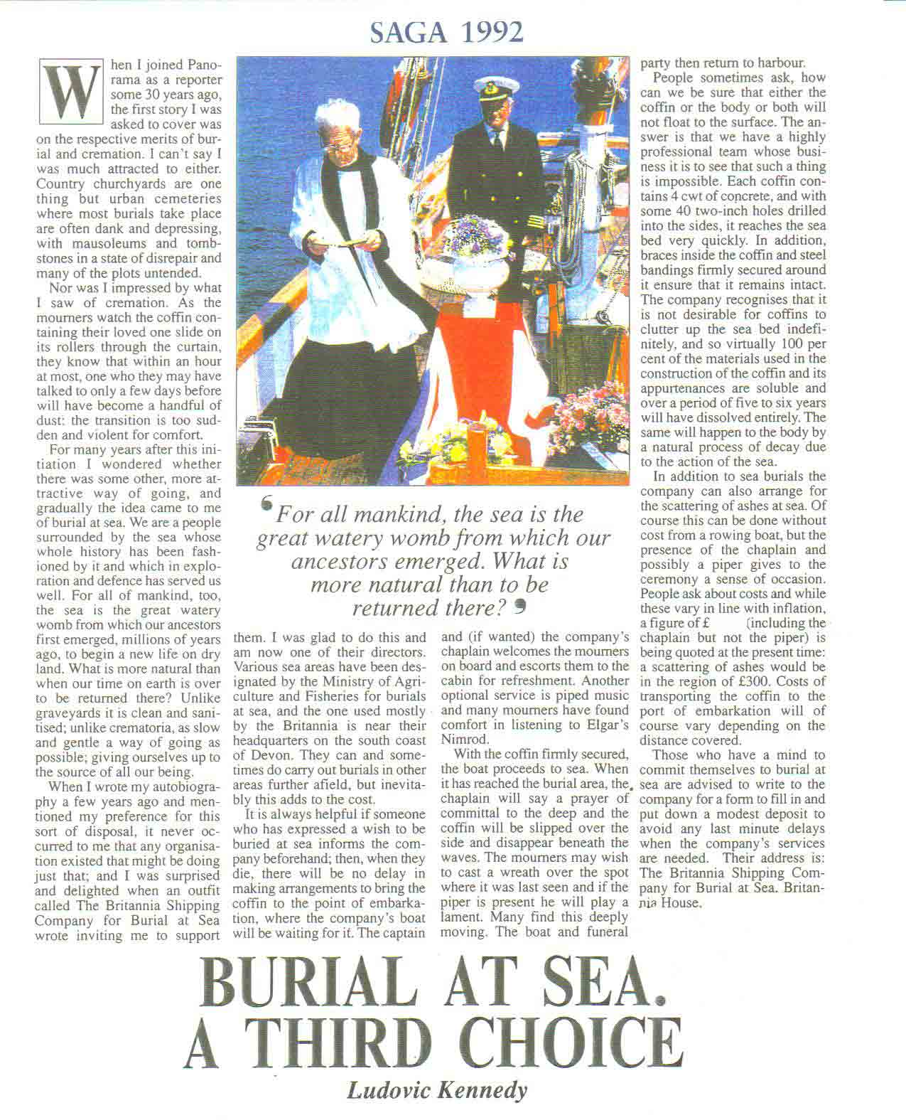 The Britannia Shipping Company Burial at Sea SAGA Editorial